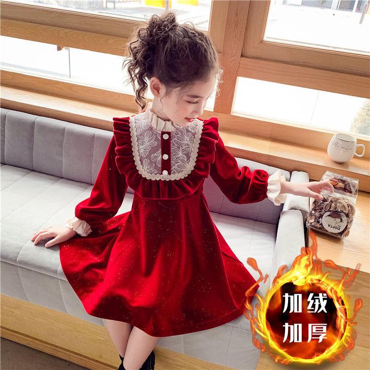 女童加绒连衣裙2021新款儿童韩版丝绒公主裙女孩红色蕾丝洋气裙子