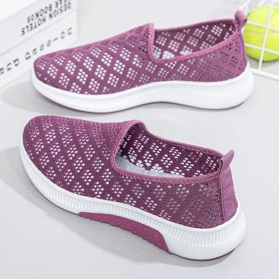夏季老北京布鞋女网面透气休闲鞋软底防滑网鞋平底一脚蹬妈妈鞋