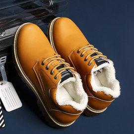 冬季男鞋加绒保暖英伦短靴工装鞋