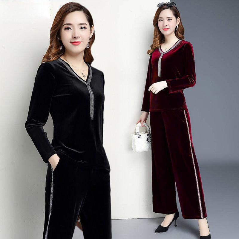中老【年女装2021春装时尚运动服装休闲套装妈妈金丝绒两件套40岁50