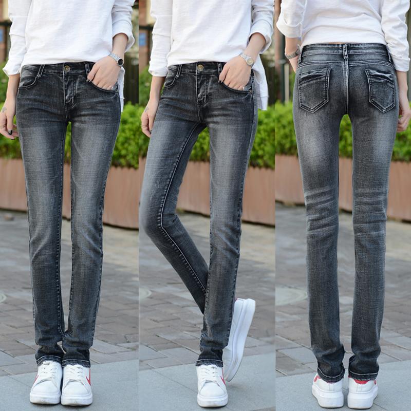 2018 mùa xuân và mùa thu Hàn Quốc phiên bản của lỏng mỏng jeans của phụ nữ cao eo căng quần Hàn Quốc phiên bản của hoang dã thẳng kích thước lớn