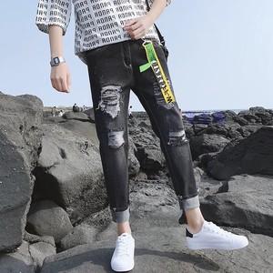 新款煙灰色大破洞九分牛仔褲潮男裝夏季無彈修身小腳鉛筆褲7491