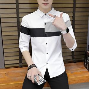 夏季男士七分袖襯衫韓版修身休閑7分袖襯衣棉麻短袖薄款中袖男裝