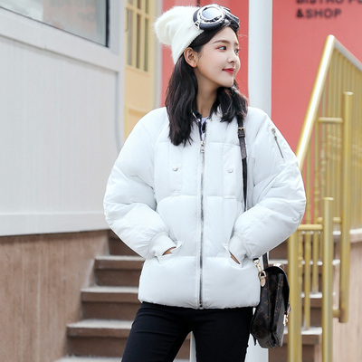 Chống mùa giải phóng mặt bằng bông áo khoác nữ đoạn ngắn mùa đông mới Hàn Quốc phiên bản của lỏng thêu bánh mì bông áo khoác bông áo khoác sinh viên áo khoác dày Bông