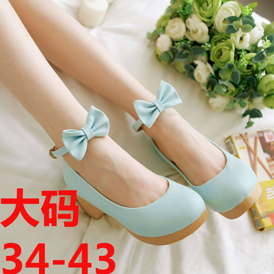 taobao agent The new sweet and pseudo empress women's high-heeled shoes Lolita style bow thick high-heeled shoes blue green pink cos