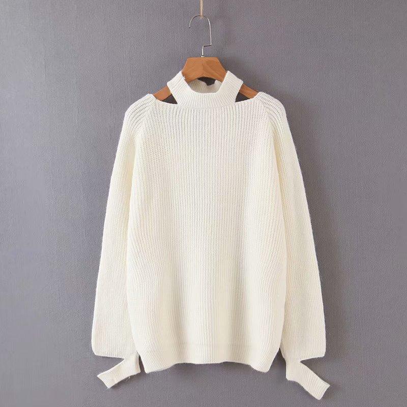 2019 зимний осенний новинка твердый роса ключица цветной повесить за шею свитер свободный пузырь рукавов свитер высокая эластичность женщина 601544142376