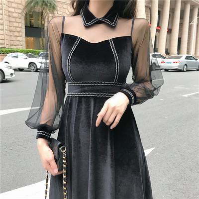 实拍现货8173港味复古时尚透视网纱长袖拼高腰修身气质丝绒连衣裙