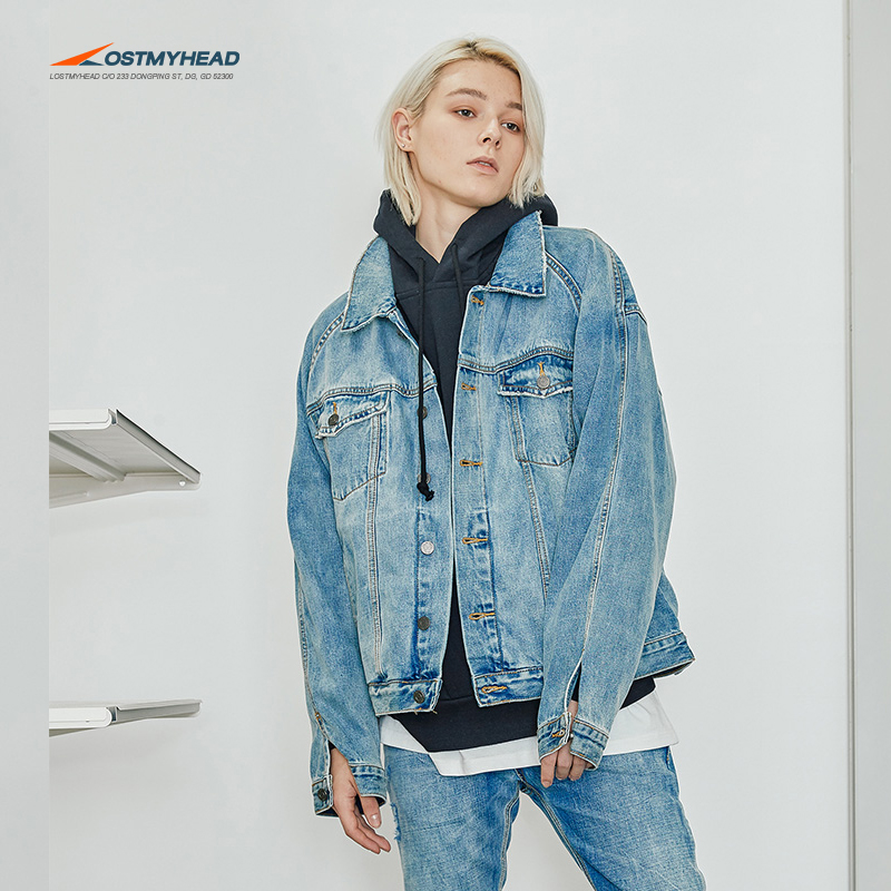 a87c58e9792 LOSTMYHEAD denim jacket male country Tide loose gown country ...