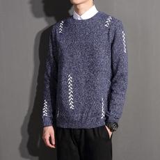 2018 冬季新品男装 手工穿线毛衣 男士大码针织衫