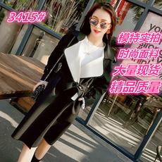 夏诗文定制 系带收腰西装领长袖风衣女秋装中长款气质大翻领外套