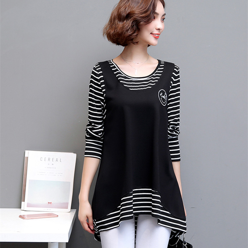 Plus fertilizer to increase the size of the T-shirt female long-sleeved fat mm spring fake two striped shirt cover belly thin bottoming shirt 200 pounds