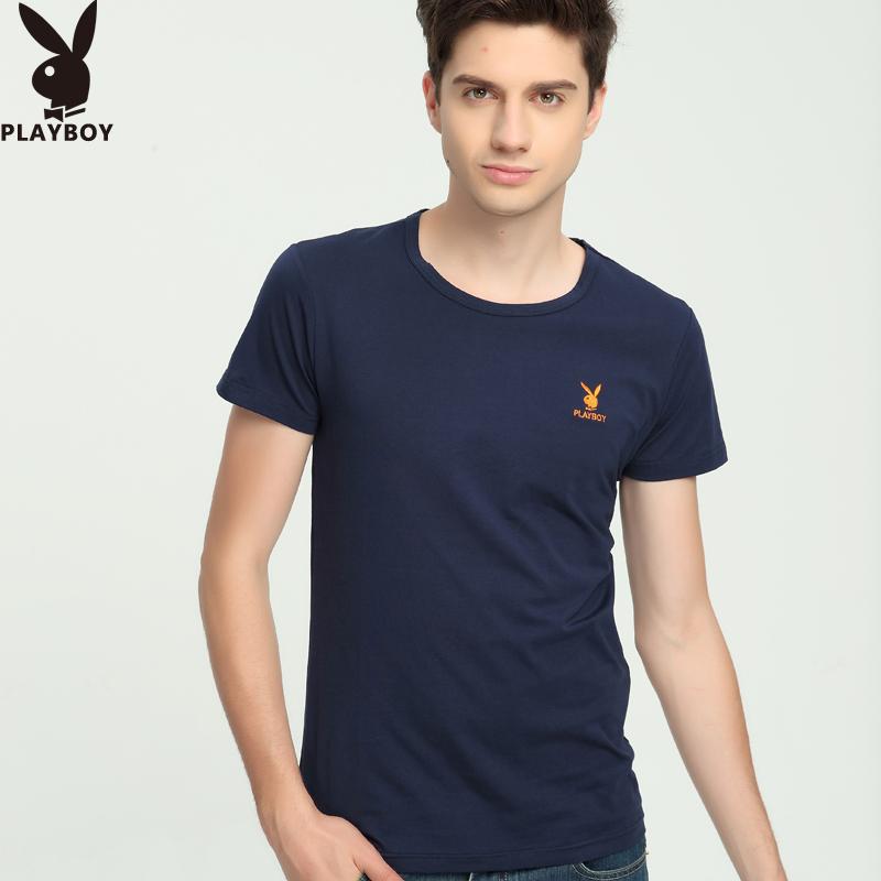 纯色圆领短袖T恤男士夏季透气吸汗打底衫纯棉修身白色弹力体恤衫