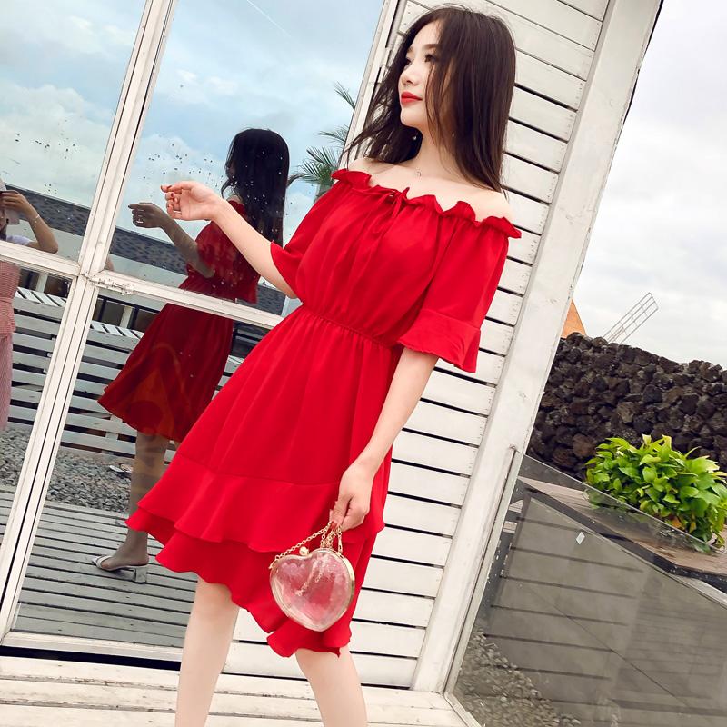 2018夏季新款度假旅游裙子女初恋裙超仙红色性感露肩一字肩连衣裙