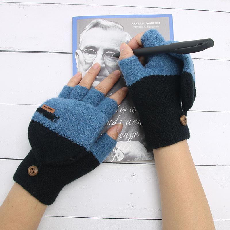 儿童手套秋冬季半指翻盖小学生写字