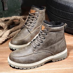 冬季男士加绒保暖中帮马丁靴皮靴