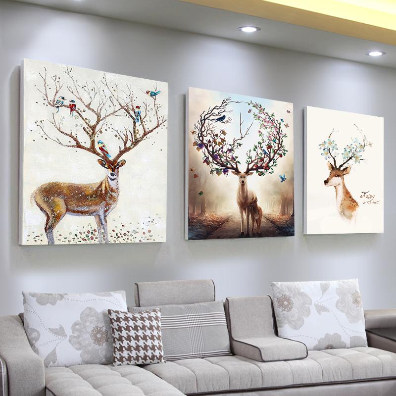 客厅装饰画现代简约无框画壁画沙发背景墙画三联画墙上挂画水晶膜