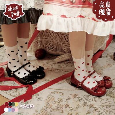 taobao agent 【Spot goods】A little round shiny leather sheep puff lolita Japanese girl cute round head Mary Jane women's shoes