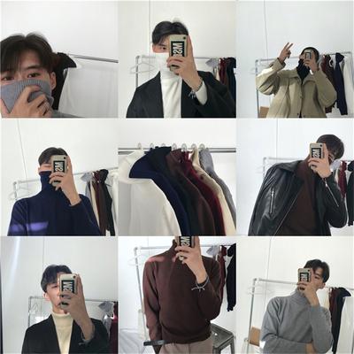 NAM 17 mùa thu và mùa đông mô hình cao cổ áo len nam Hàn Quốc phiên bản của màu rắn áo thun áo len dài tay mỏng đáy áo sơ mi nam