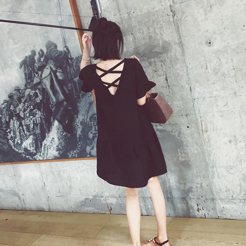2018夏新款胖mmsukol裙子红色ins超火少女超仙小清新i miss连衣裙