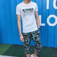 港风夏男针织卫衣运动套装两件套短袖哈伦七分裤学生Y21/P50