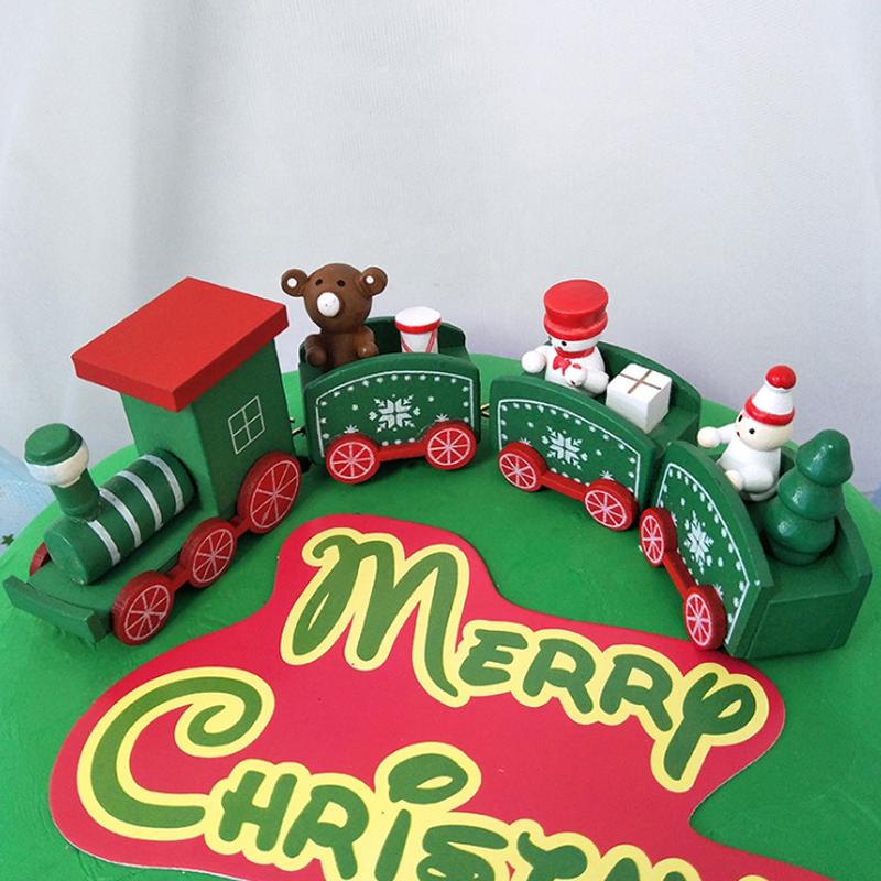 绿色圣诞木头小火车圣诞节烘焙装扮用品甜品台小火车车厢