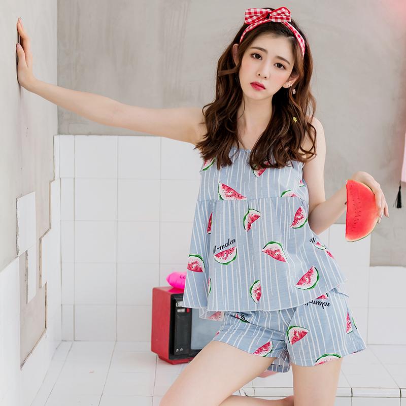 Mùa hè sling bông đồ ngủ nữ sinh viên XL không tay vest sọc có thể được đeo bên ngoài Hàn Quốc quần short dịch vụ nhà