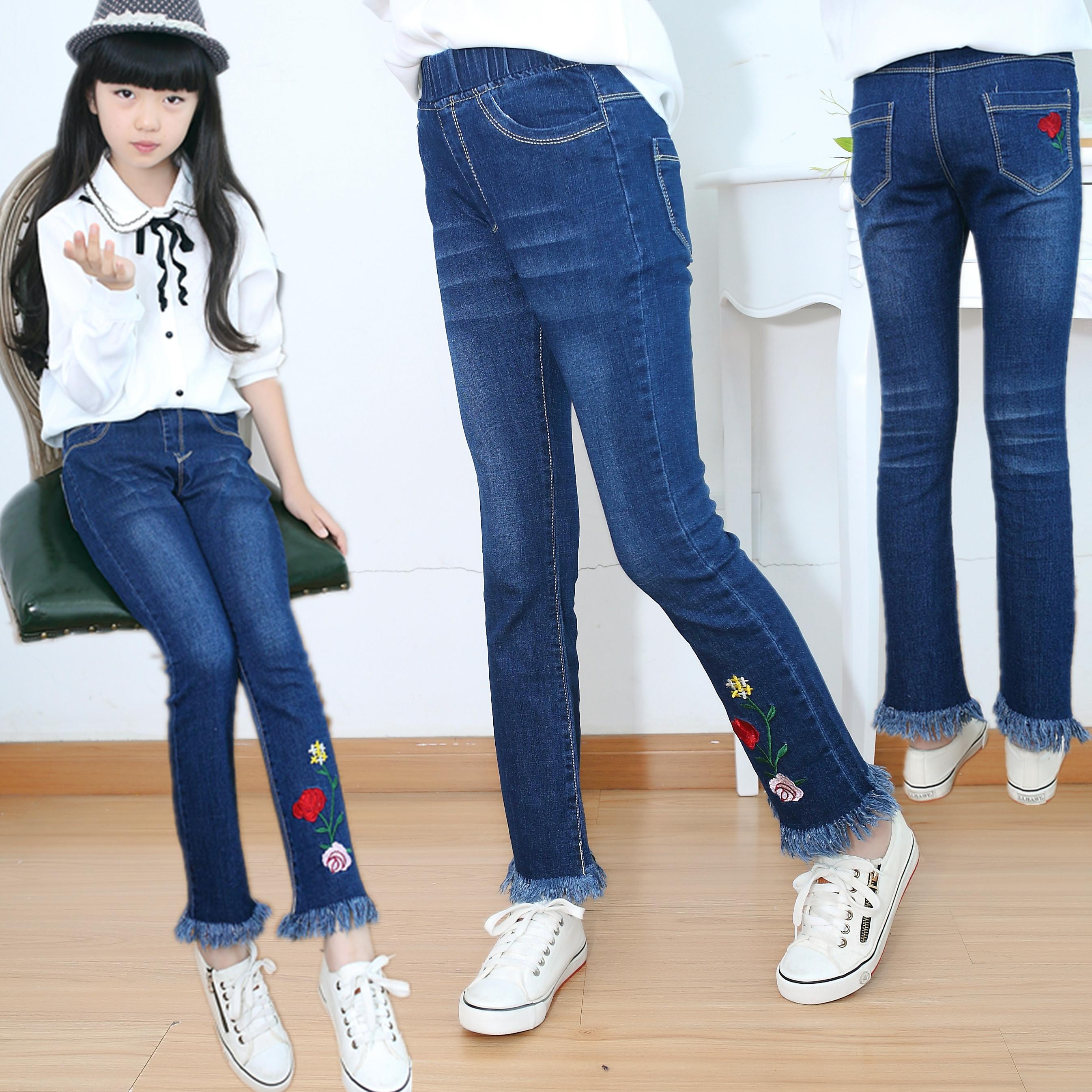2018 quần áo trẻ em mùa xuân và mùa hè cô gái mới jeans tua micro chuông quần quần trẻ em trong lớn của trẻ em quần bút chì