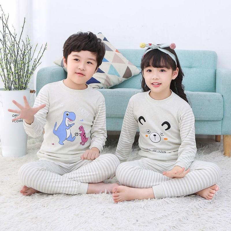 春秋款儿童秋衣秋裤彩棉男童女童0-6内衣套装宝宝睡衣长袖睡衣