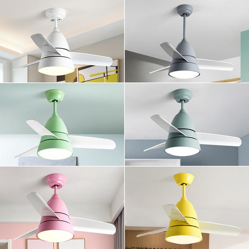 北欧电风扇灯 简约现代家用客厅餐厅儿童风扇灯卧室LED马卡龙吊灯