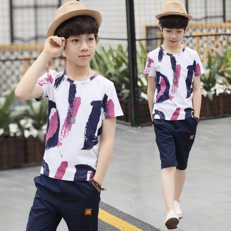 中大童夏季儿童短袖帅气韩版潮洋气套装