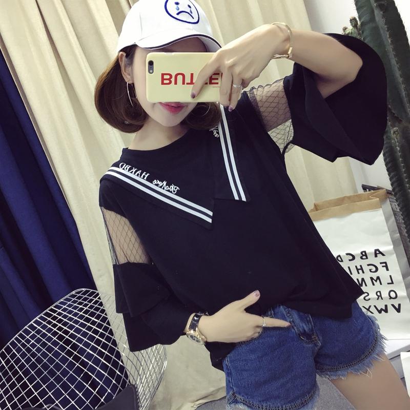 Mùa hè Hàn Quốc phiên bản của siêu lớn kích thước 200 pound chất béo mm ngắn tay t-shirt phụ nữ lỏng lẻo mỏng ren lá sen tay áo phiên bản lớn