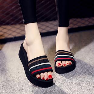 2019新款韩版条纹厚底一字拖防滑沙滩鞋