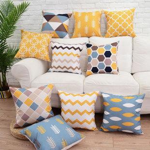 北欧现代美式靠垫 棉麻抱枕含芯