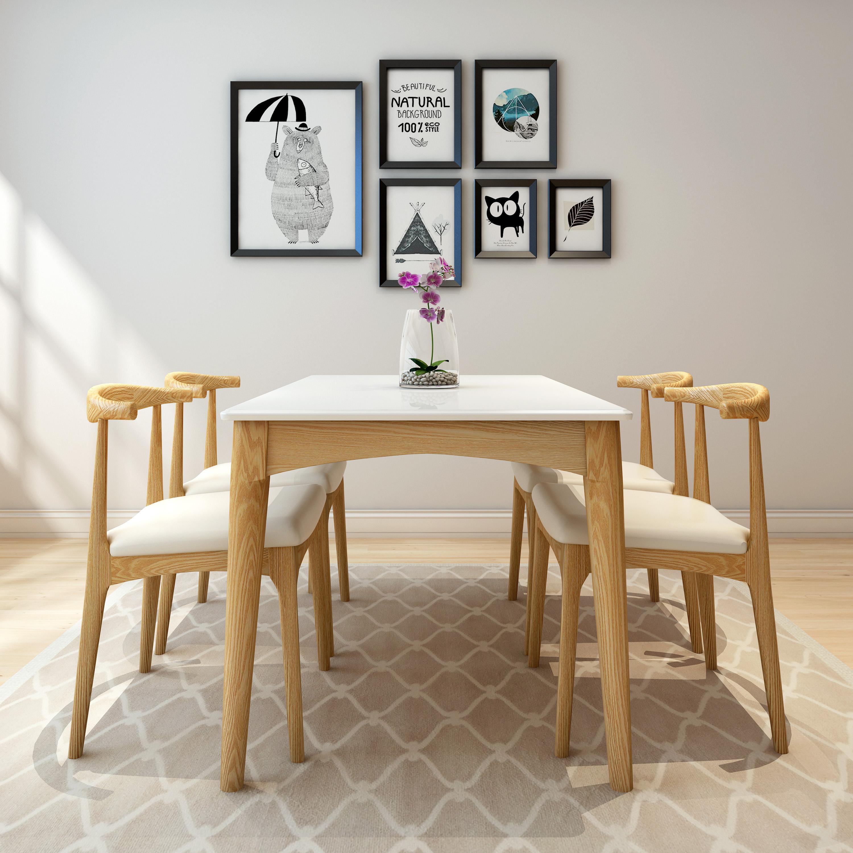 现代简约家具_北欧大理石餐桌椅组合纯实木小户型家具现代简约长方形火烧石