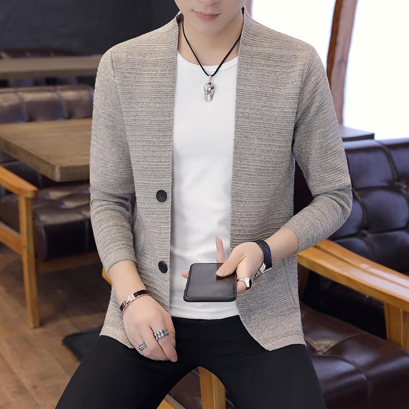 男士秋季针织开衫青年加绒加厚韩版潮流毛衣外搭针织打底加绒开衫