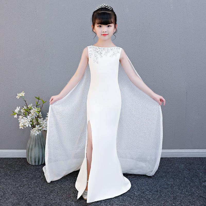 2020 cô gái mới cá tính trắng thời trang áo choàng dài đẹp đầm dạ hội khí chất sân khấu biểu diễn dịch vụ lưu trữ - Váy trẻ em