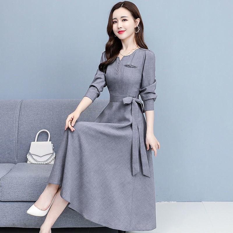 长袖时尚棉麻连衣裙女2021春装新款韩版高贵气质修身显瘦中长裙女