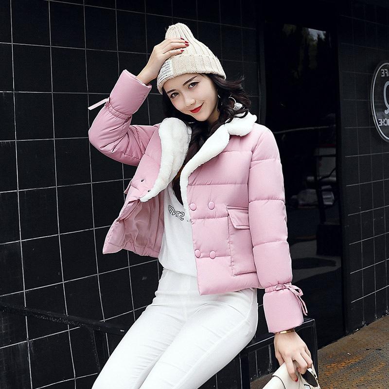 棉衣女2018春秋新款短款羊羔绒面包服学生棉服棉袄外套薄绒时尚潮
