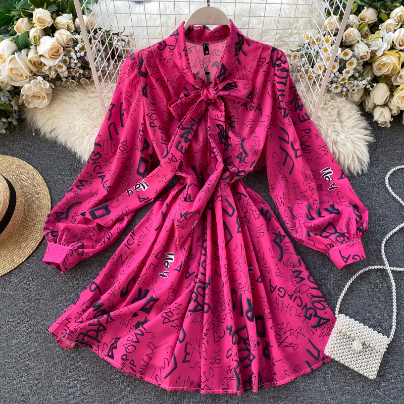 Ретро мода алфавит юбка 2020 популярный юбка бант кружево пузырь рукавов A слово платье женщина 609868909723