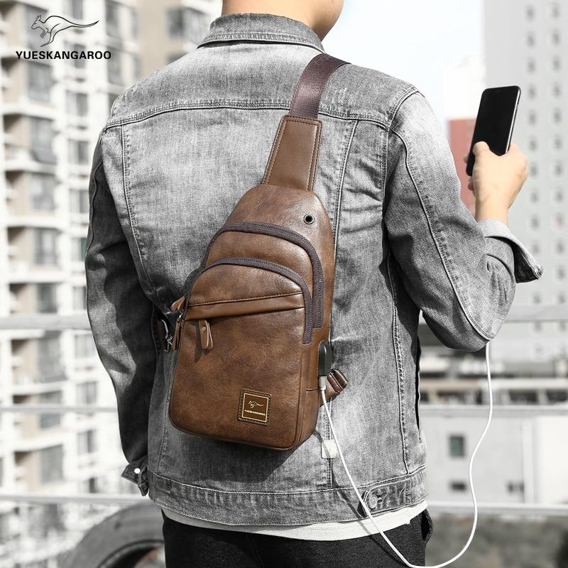 袋鼠胸包男真皮单肩斜挎包USB时尚小背包