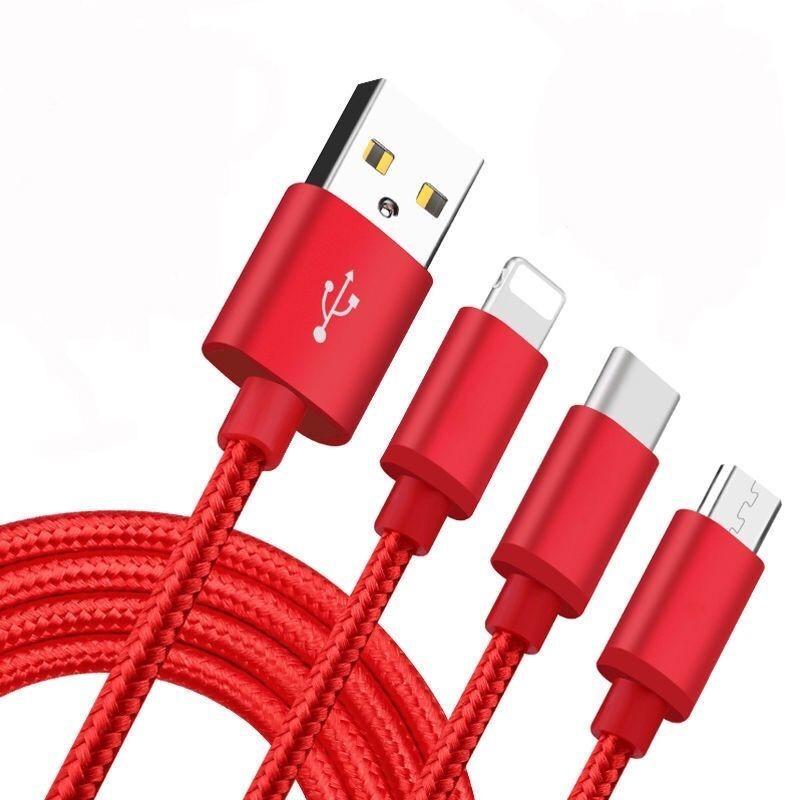 三合一数据线苹果安卓type-c一拖三充电线华