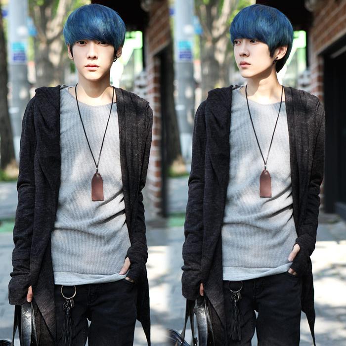 Triều thương hiệu người đàn ông đen phần dài mỏng cardigan áo len nam Hàn Quốc áo len áo len nam thanh niên hoodie áo khoác