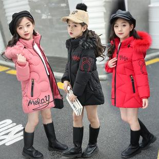 冬兒童棉服女棉襖中大童女童棉衣外套中長款