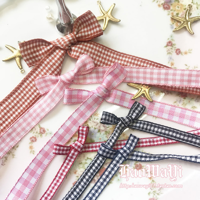 taobao agent Plaid yarn-dyed ribbon, cotton cloth, satin ribbon, DIY hair accessories, earrings, earrings accessories, bow material 5 meters