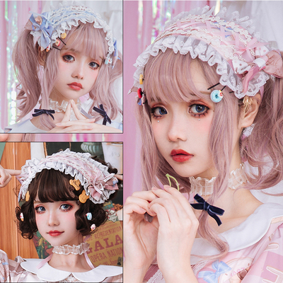 taobao agent Japanese cos soft girl Lolita original milk sweetheart headdress lace print lace bow hair band