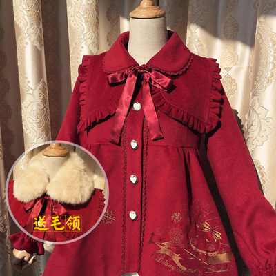 taobao agent Japanese Lolita winter original new high-waisted petal woolen coat with fur collar warm and thick coat jacket