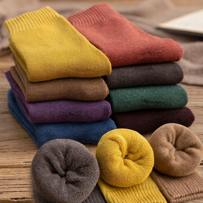 【5-10双】袜子女冬季中筒袜韩版加厚↑保暖毛线袜子女士秋冬毛圈袜