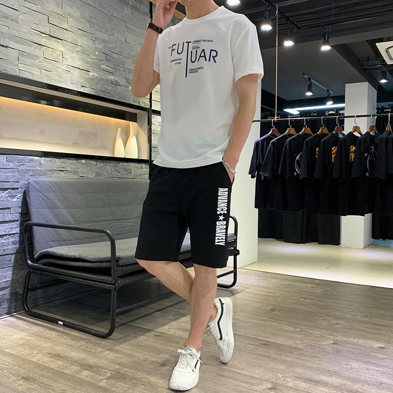 2019夏季新型蚂蚁皱布料短袖短裤潮流印花运动休闲套装时尚两件套,免费领取100元淘宝优惠卷
