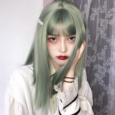 taobao agent Fish wig short hair female net red bean gray green handsome natural girl shaved face fluffy air full headgear hair cover
