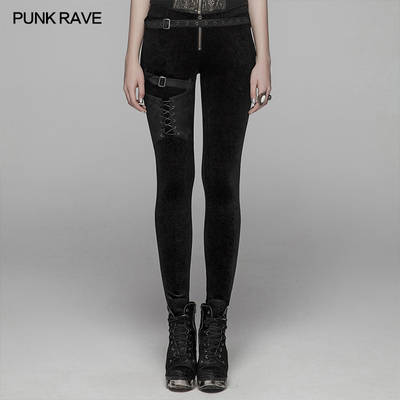 taobao agent *PUNK RAVE women's steampunk leggings Steampunk tie rope is thin and long shadow velvet
